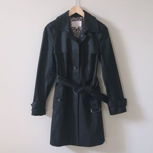 HostPick Banana Republic Black Leopard Trench Coat